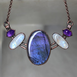 Purple Labradorite Double Bar Bib Necklace