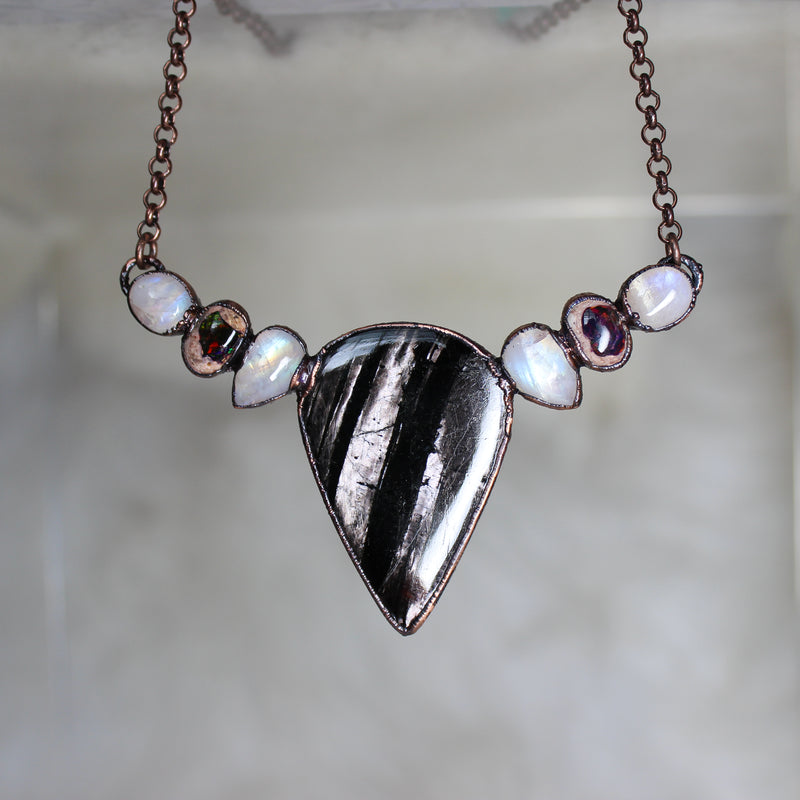 Hypersthene, Moonstone & Galaxy Opal Bib Necklace