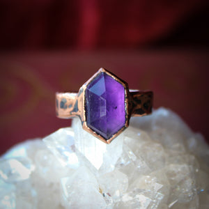 Deep Purple Faceted Amethyst Ring size 8