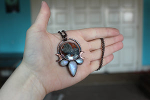 Pyrite Agate Moon Phase Necklace - a