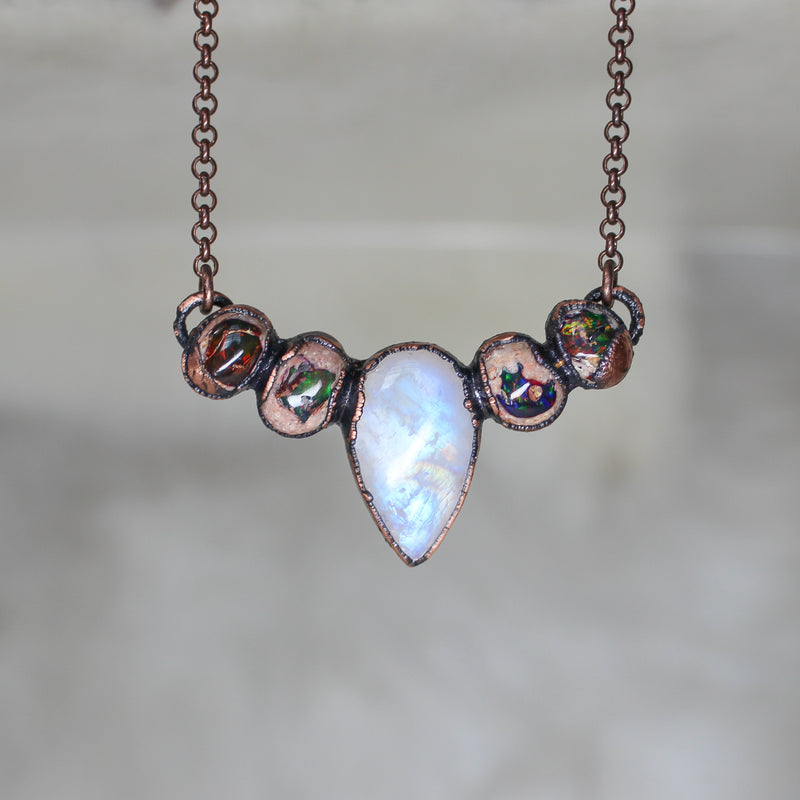 Rainbow Moonstone and Galaxy Opal Bib Necklace
