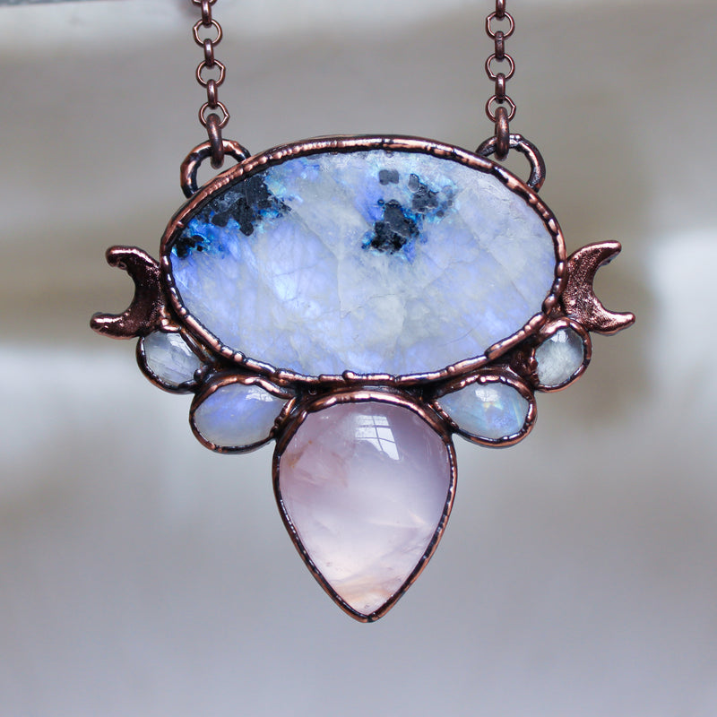 Rainbow Moonstone & Rose Quartz Moon Phase Necklace