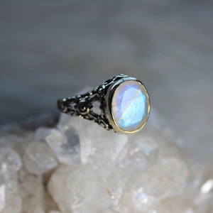 Rainbow Moonstone Filigree Ring size 6