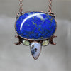 Lapis with Prehnite Crescent Necklace