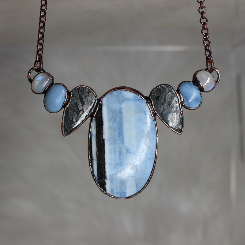 Blue Opal Bib Necklace