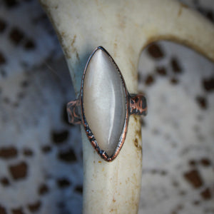 Gray Moonstone Ring size 5.5