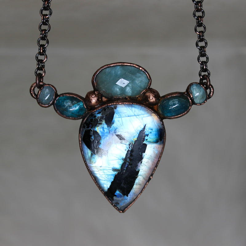 Moonstone, Apatite, and Aquamarine Necklace