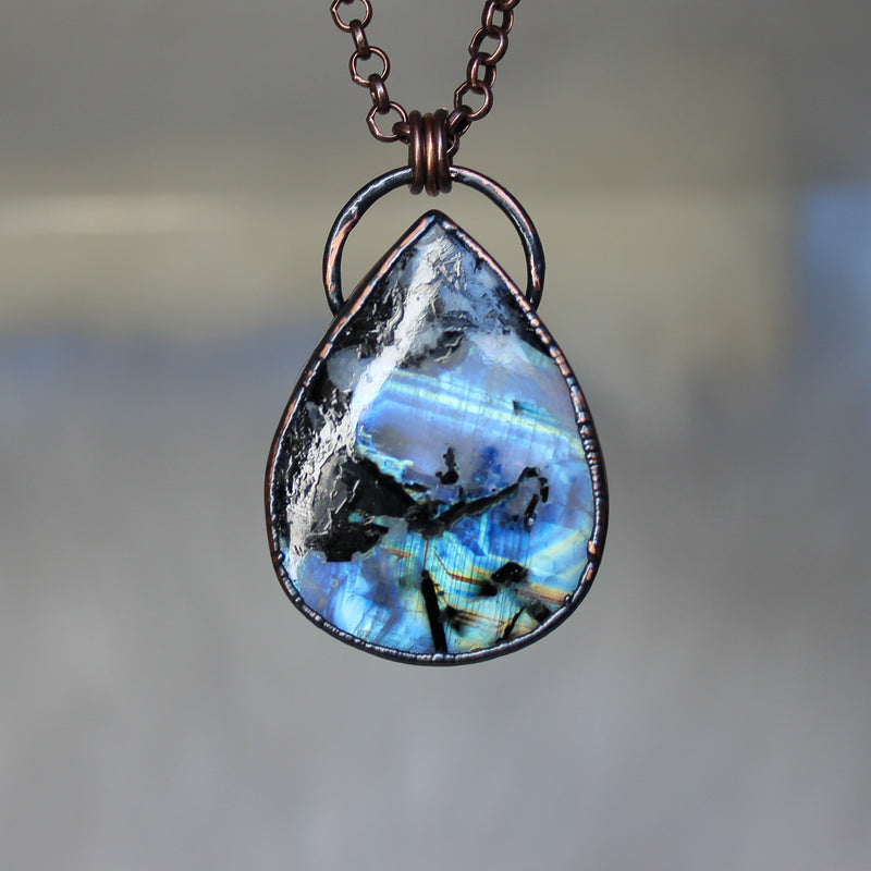 Rainbow Moonstone Black Tourmaline Necklace