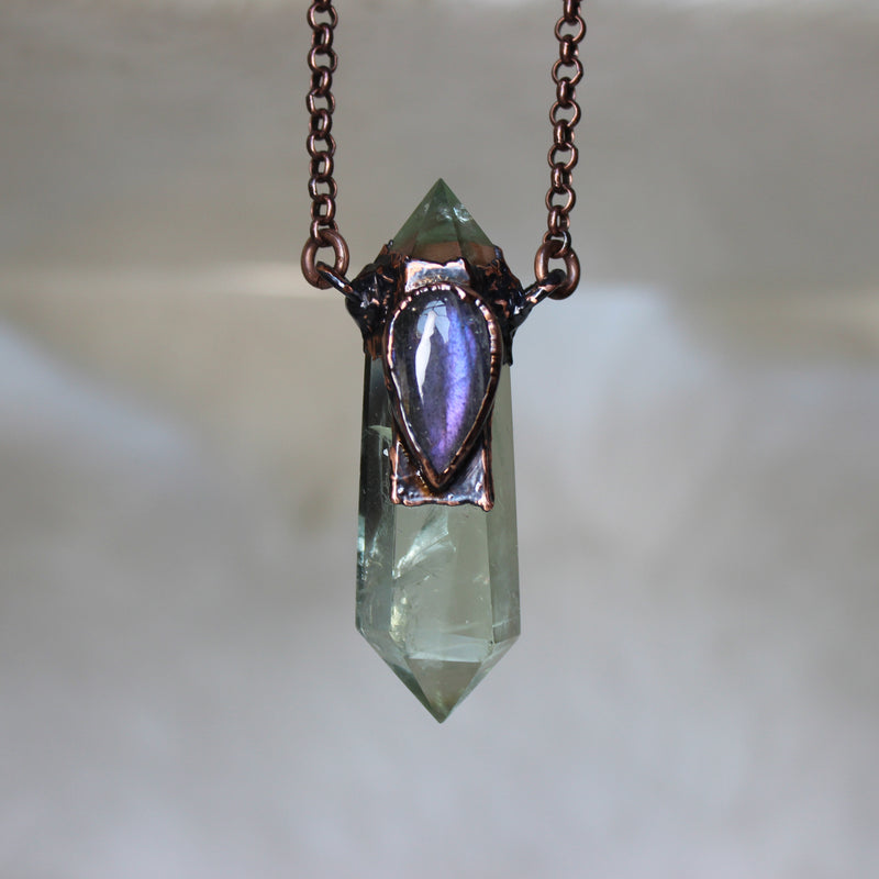 Prasiolite & Purple Labradorite Necklace