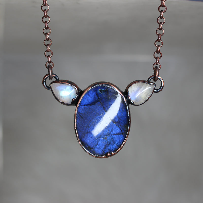 Blue Labradorite & Moonstone Necklace