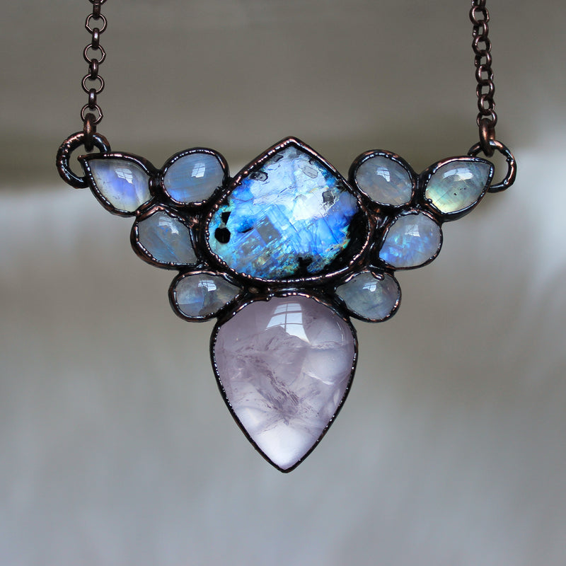 Moonstone & Rose Quartz Cluster Necklace