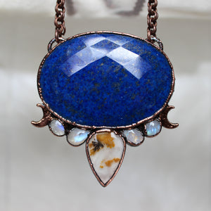 Faceted Lapis Crescent Necklace