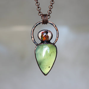 Prehnite and Galaxy Opal Necklace
