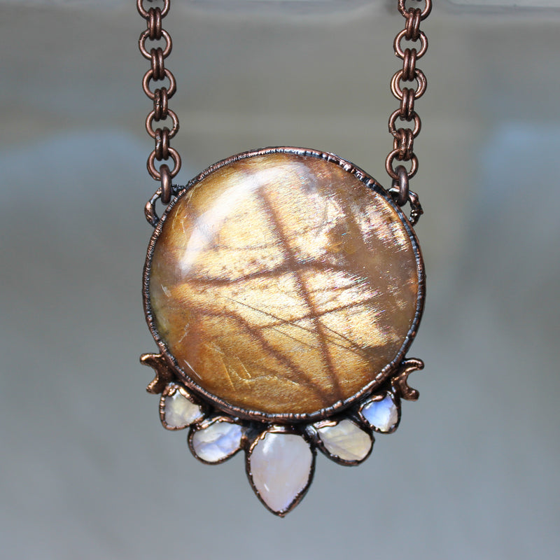 Sunstone & Rainbow Moonstone Necklace