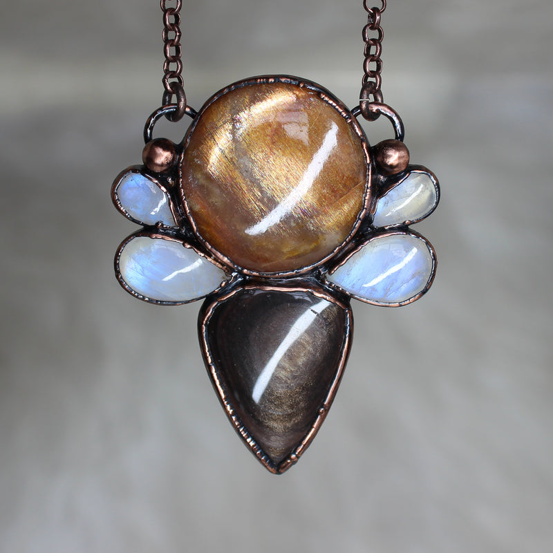 Sunstone, Obsidian & Moonstone Cluster Necklace
