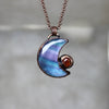 Fluorite Crescent Moon with Galaxy Opal - B