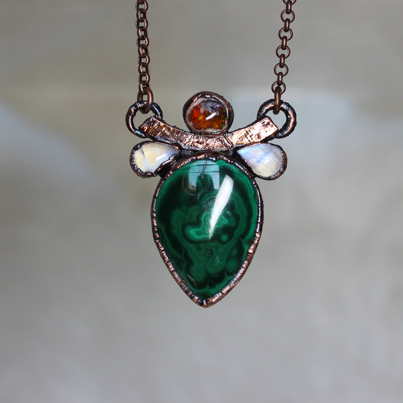 Malachite, Galaxy Opal, & Moonstone Necklace