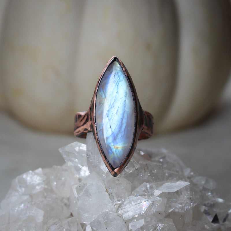Rainbow Moonstone Ring size small 6