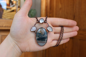 Moss Agate & Triple Moonstone Necklace