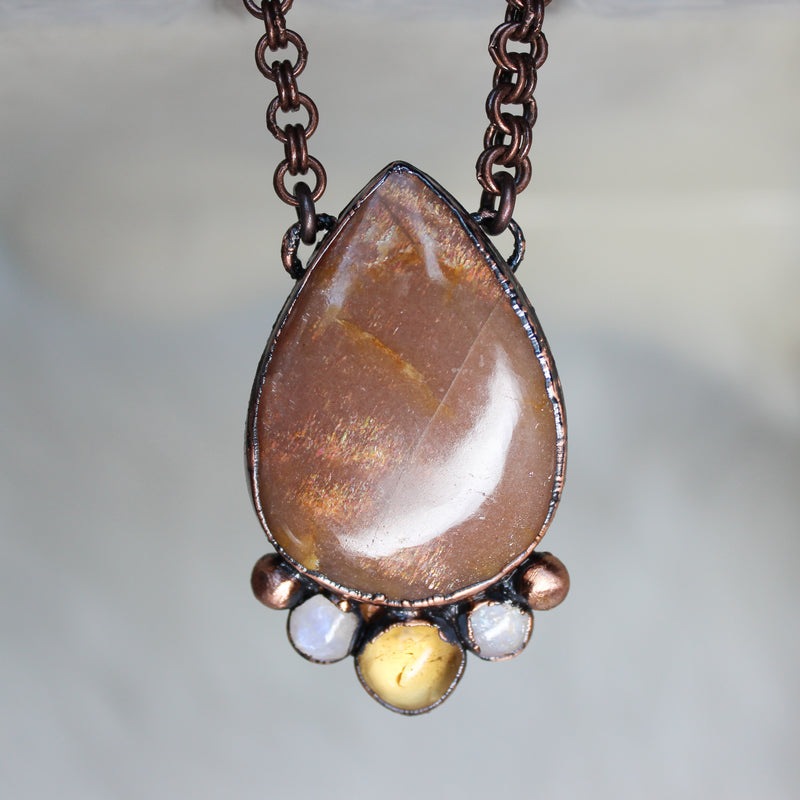 Sunstone, Citrine & Rainbow Moonstone Necklace