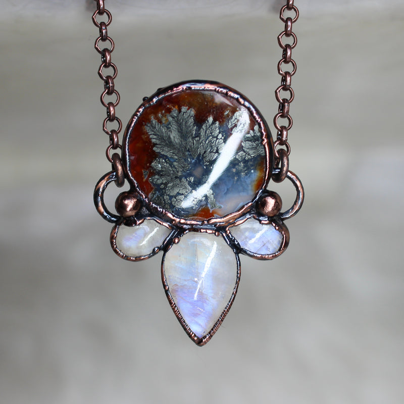 Pyrite Agate Moon Phase Necklace - b