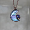 Fluorite Crescent Moon with Galaxy Opal - C