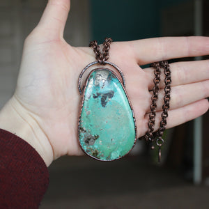 Giant Chrysocolla with Pyrite Necklace