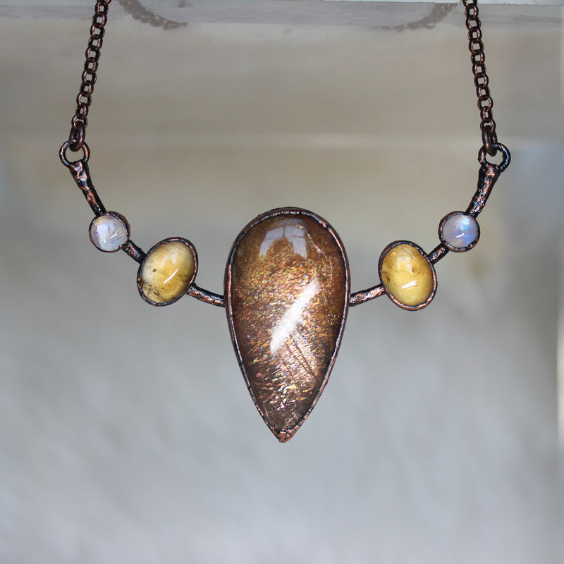 Sunstone Bib Necklace