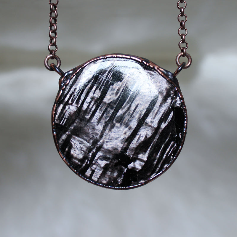 Hypersthene Full Moon Necklace