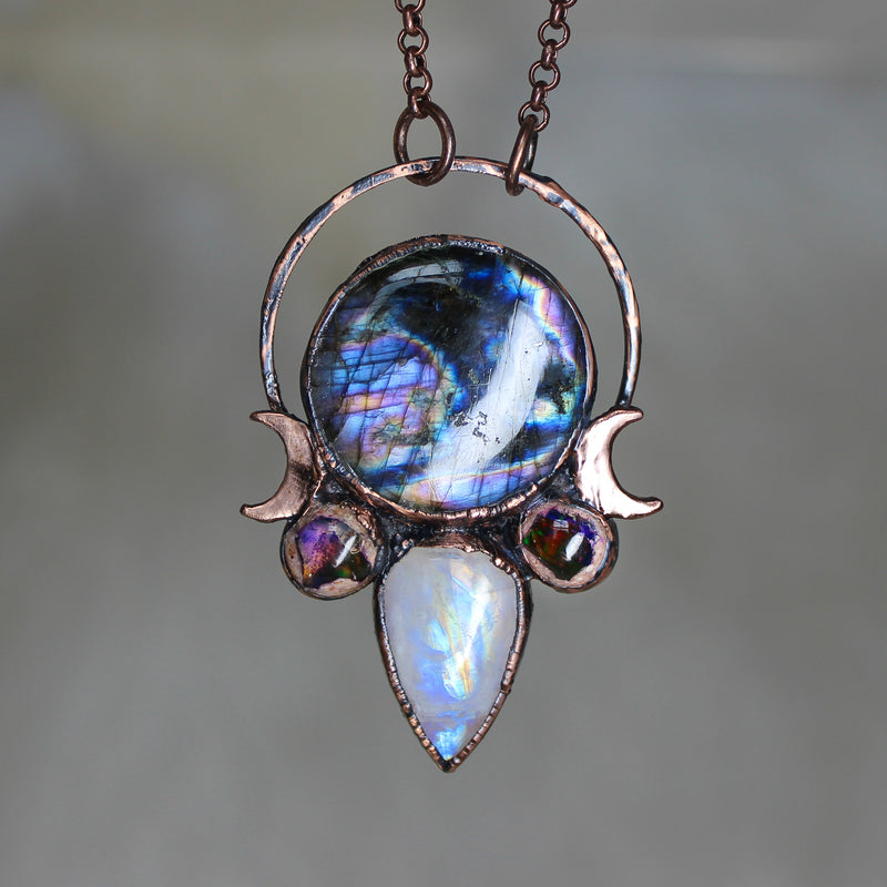 Celestial Labradorite, Galaxy Opal & Moonstone Necklace
