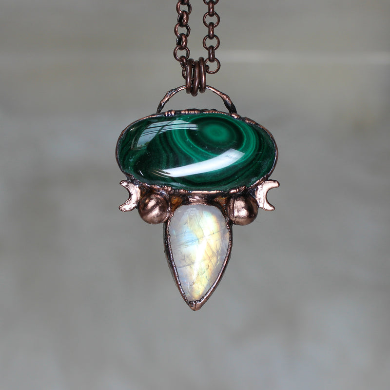 Celestial Malachite & Rainbow Moonstone Necklace