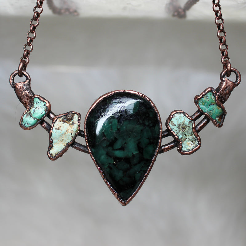 Emerald and Turquoise Bib Necklace