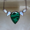 Malachite and Moonstone Bib Necklace