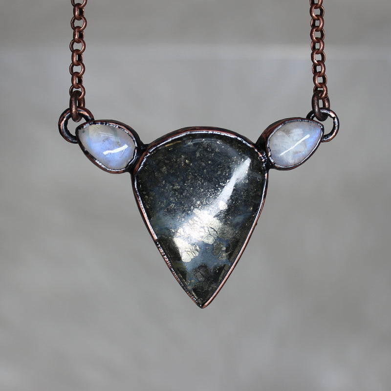 Marcasite and Rainbow Moonstone Necklace