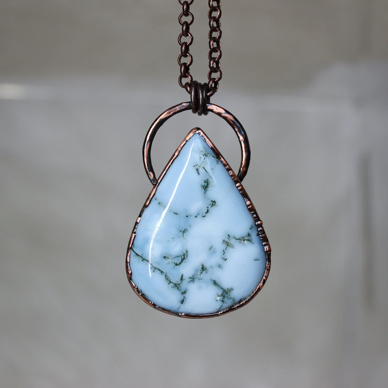 Large Moss Blue Opal Necklace