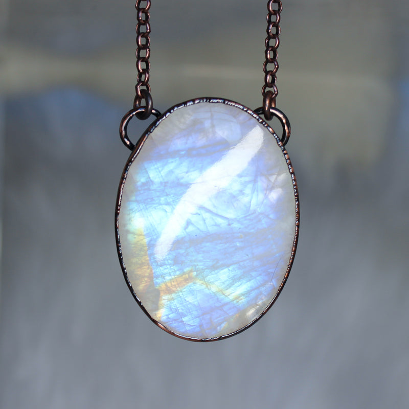 XL Rainbow Moonstone Necklace
