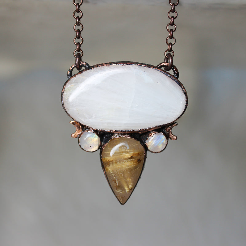 Scolecite, Golden Rutile, & Rainbow Moonstone Necklace