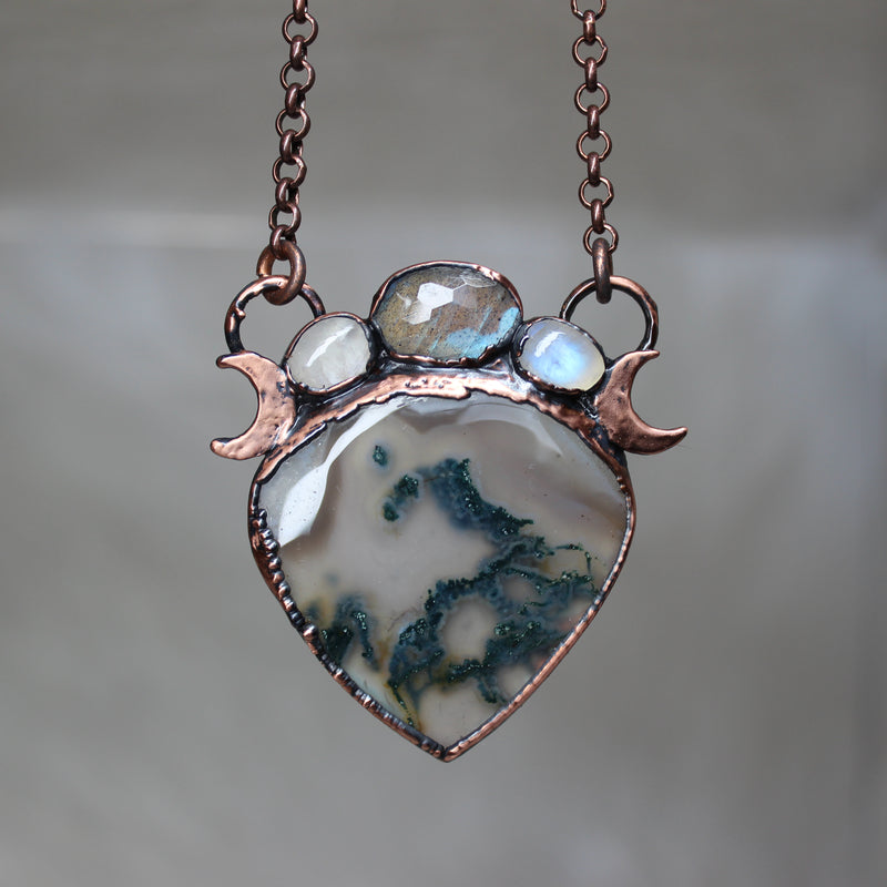 Moss Agate with Moonstone & Labradorite