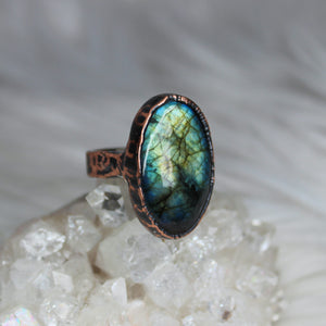 Blue/green Labradorite Ring size 9.25