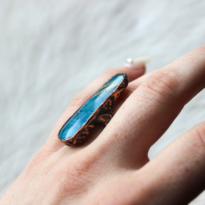 Turquoise ring with Golden Rutile Top size 6