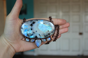GIANT Rainbow Moonstone Moon Phase Necklace