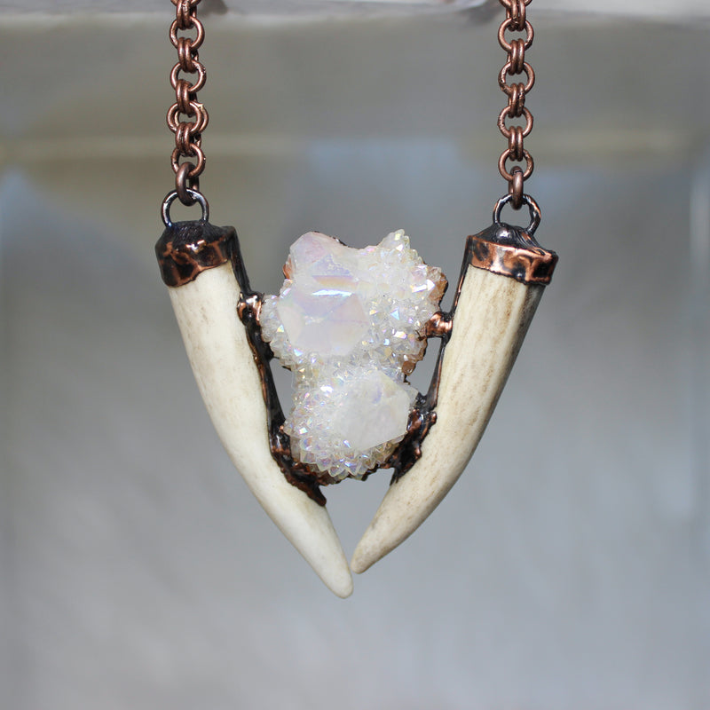 Angel Aura Spirit Quartz with Double Antler Necklace