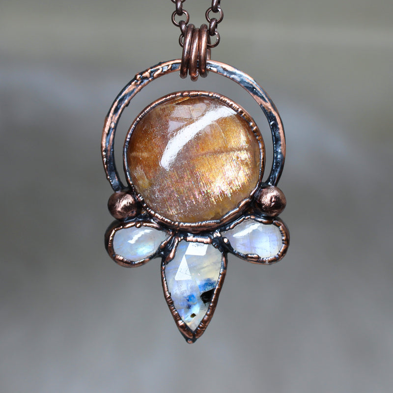 Sunstone Moon Phase Necklace - a