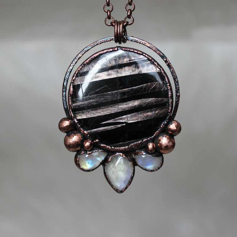 Hypersthene Moon Phase Necklace