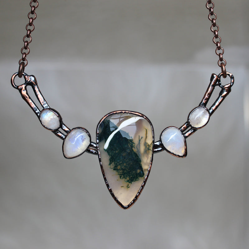 Moss Agate Bib Necklace