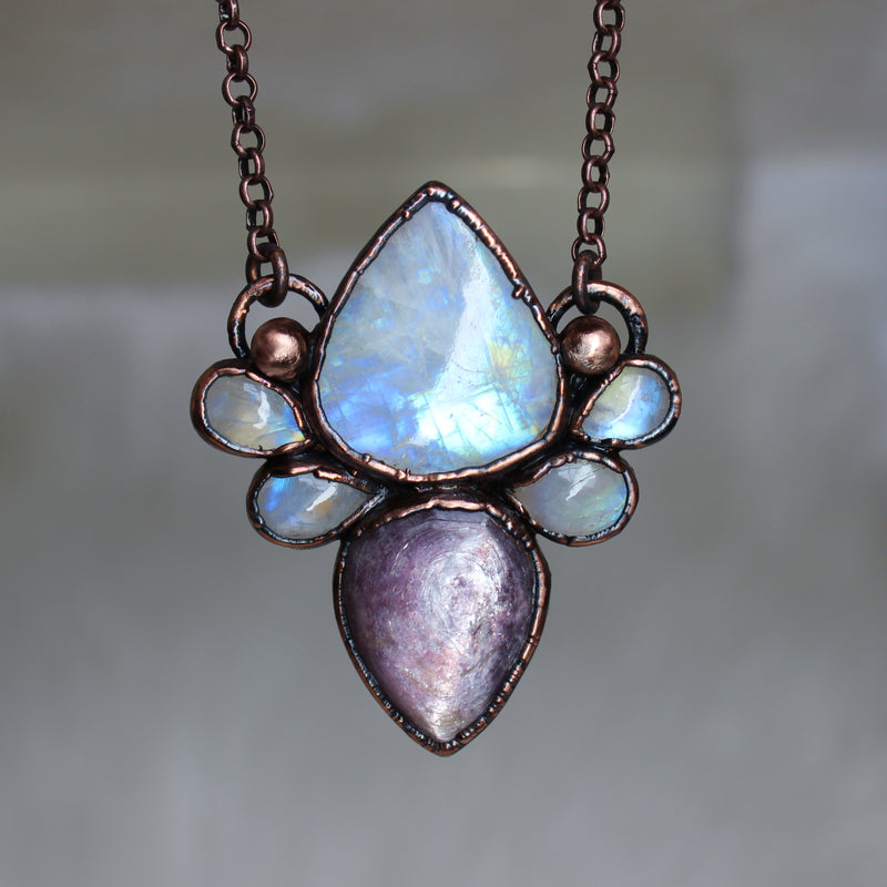 Gem Lepidolite & Moonstone Necklace
