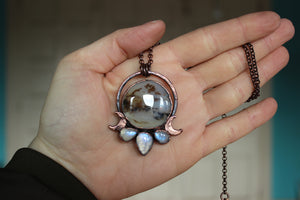 Siberian Dendritic Agate Moon Phase Necklace