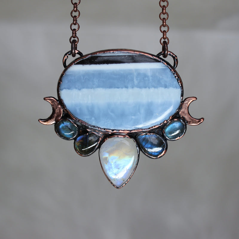 Blue Opal Moon Phase Necklace