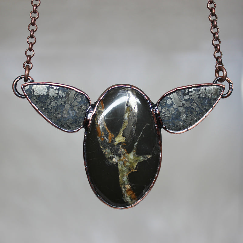 Sea Fossil & Marcasite Necklace