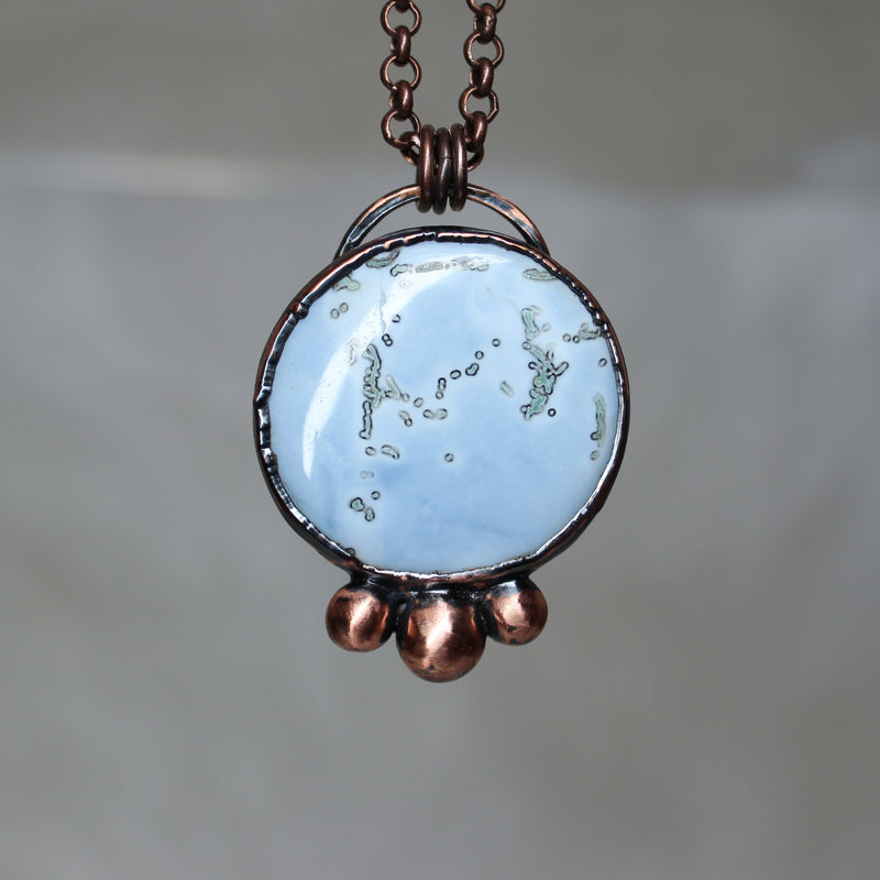 Blue Opal Full Moon Necklace